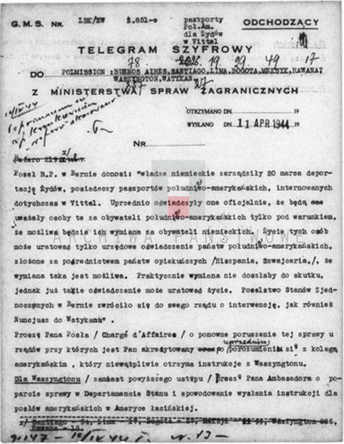 <p>Jedna z wielu depesz Polskiego Rządu skierowana do placówek polskich z prośbą o wsparcie akcji paszportowej<br /> <small>Instytut Hoovera, 800_420_265</small></p>