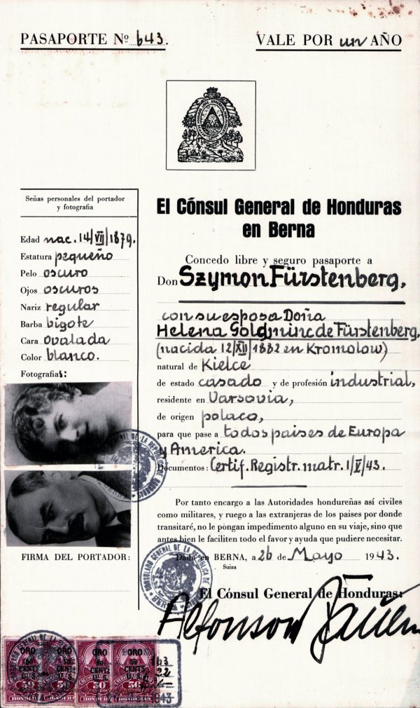 <p>Paszport Hondurasu wystawiony dla Szymona Furstenberg<br /> <small>Archiwum Yad Vashem, dr Abraham Silberschein Archive, sygn. P.22/22</small></p>