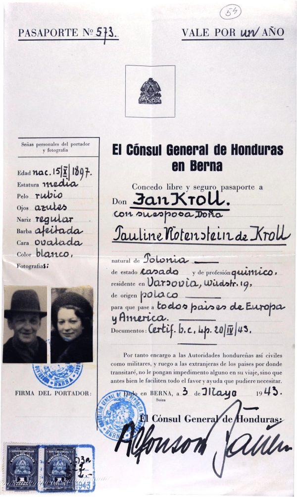 <p>Paszport Hondurasu wystawiony dla Jana Kroll z żoną Pauline Rotenstein de Kroll<br /> <small>Archiwum Yad Vashem, dr Abraham Silberschein Archive, sygn. M.20/166</small></p>