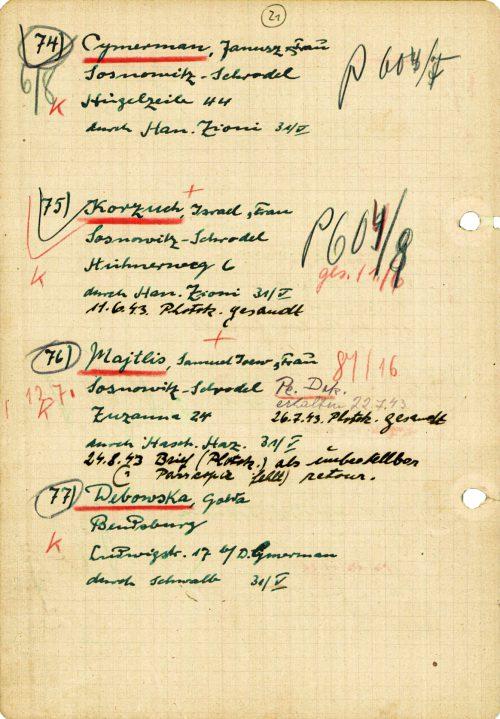 <p>Odręczne notatki Abrahama Silberscheina dotyczące osób, którym udzielano pomocy w związku z akcją paszportową<br /> <small>Yad Vashem M20_179_13_24 Yad Vashem M20_179_13_25</small></p>