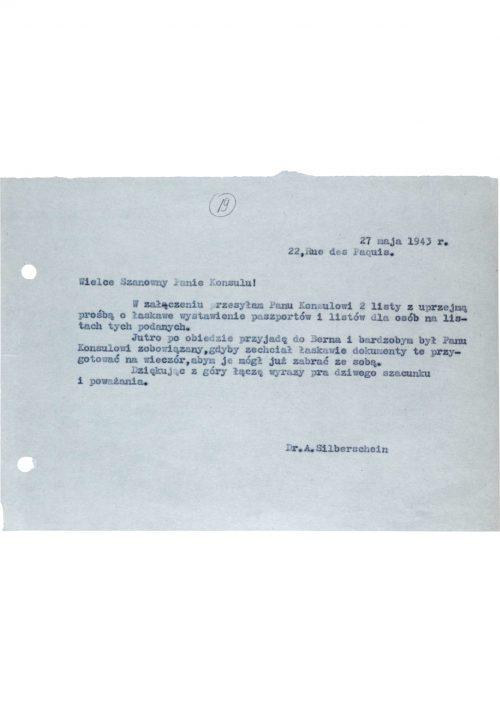 <p>Prośba Abrahama Silberscheina o wystawienie paszportów<br /> <small>Archiwum Yad Vashem M20_64_01_20</small></p>