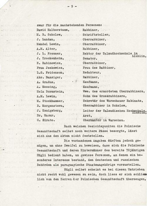 <p>[w tym miejscu rozpoczyna się karta 9] dla następujących osób:<br /> Dawid Halberstamm, rabin,<br /> M.B. Sokolow,  pisarz,<br /> J. Landau, oberrabin,<br /> Mendel Lewin, oberrabin,<br /> A.M. Alter, rabin,<br /> J.L. Frommer, rektor Wyższej Szkoły Talmudycznej w Lublinie,<br /> J. Trockenheim, senator,<br /> N. Rabinowicz, oberrabin,<br /> pani Joskowicz, żona rabina,<br /> L.G. Fridenson, redaktor,<br /> Abraham Danziger, rabin,<br /> A.Gradus, kupiec,<br /> A. Messing, kupiec,<br /> Hela Bornstein, wdowa po zamordowanym oberrabinie,<br /> A.M. Lewin, syn wielkiego rabina,<br /> M. Stockhammer, sekretarz warszawskiego rabinatu,<br /> B. Morgenstern, oberrabin w Sokołowie<br /> J. Kenigsberg, kierownik Wyższej Szkoły Talmudycznej w Lublinie,<br /> Dr Mazur, lekarz,<br /> G. Sirato, główny kantor.<br /> Z akt nie można stwierdzić, z jakiego punktu widzenia polskie poselstwo załatwiało kolejne paszporty.<br /> Istniejące informacje mogłoby jednakże wystarczyć, aby bez wątpienia dowieść, że polskie poselstwo i osoby stojące za nim posługiwały się już 70-letnim Hüglim, aby przedstawić władzom niemieckim i rosyjskim pewne osoby, którymi szczególnie się interesowano, jako obywateli paragwajskich.<br /> Wydaje się, iż sam Hügli nie był bardzo w tych działaniach, jednak ostatecznie pozwolił przekonać się panom z polskiego poselstwa, że przedsięweźmie działania, które zdają się być szczególnie uzasadnione, ponieważ Polska i Paragwaj stoją po tej samej stronie w wojnie. Tego, że przy tym mógłby sprawić trudności władzom swojego własnego kraju ojczystego, zdaje się, że sobie nie uświadomił.</p> <p><small>Archiwum Federalne w Bernie,<br /> sygnatura CH-BAR#E2001E#1000-1571#657#27</small></p>
