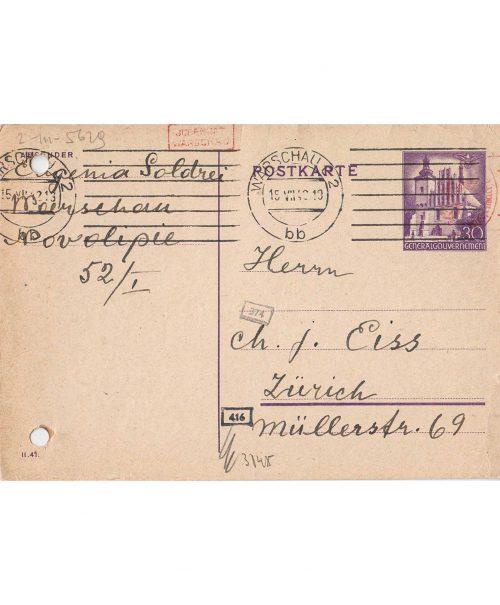 <p>Pocztówka skierowana do Chaima Eissa z prośbą o pomoc <small>Państwowe Muzeum Auschwitz-Birkenau, EISS_1_0148</small></p>