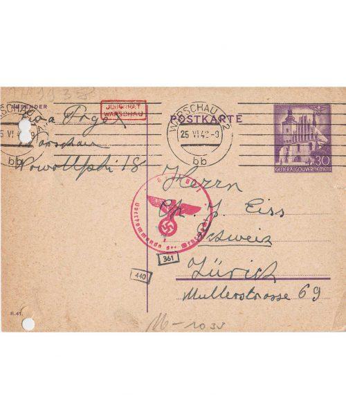 <p>Pocztówka skierowana do Chaima Eissa z prośbą o udzielenie pomocy<br /> <small>Państwowe Muzeum Auschwitz-Birkenau, EISS_1_0159</small></p>