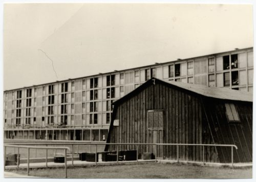 <p>Drancy. Camp for Jewish civilian internees. Shelter used for examination of new arrivals.</p> <p><small>copyright International Committee of the Red Cross ICRC, 10/05/1944, World War II. Drancy. Camp for Jewish civilian internees, V-P-HIST-00729-20A</small></p>