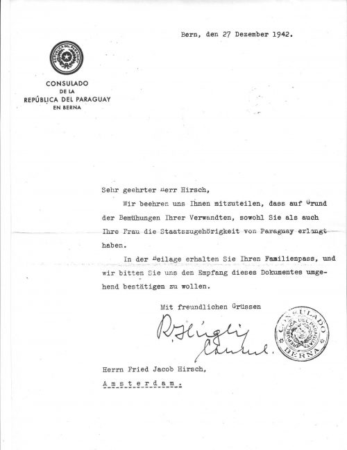 <p>A letter from consul Hügli attached to the passports</p>