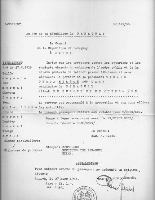 <p>A certified copy of the Paraguayan passport of Gerda Hirsch</p>