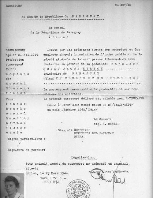 <p>A certified copy of the Paraguayan passport of Fried Jacob Hirsch</p>