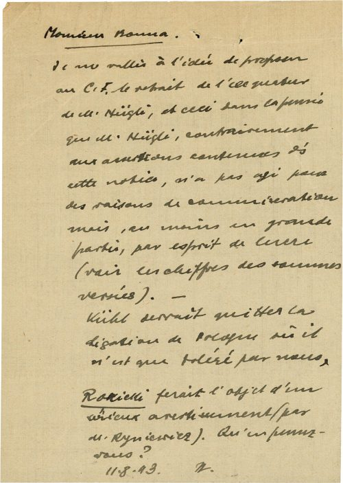 <p>Mr. [surname?]<br /> I endorse the idea of proposing to C.F. to withdraw the exequatur of Mr. Hügli, this because of the conviction that, unlike the rest of those mentioned in the note, Mr. Hügli was not guided solely by humanitarian reasons, but – at least to a significant degree – was motivated by profit (vide the amounts transferred).<br /> Kühl should leave the Polish legation, as he is barely tolerated by us.<br /> It seems that Mr. Rokicki received a warning (from Mr. Ryniewicz). What do you think?<br /> 11.8.43 [illegible initials]</p> <p>Protocol from the questioning of the Honorary Consul of Paraguay, recorded during an investigation against him<br /> <small>Swiss Federal Archives, CH-BAR#E2001E#1000-1571#657#27</small></p>