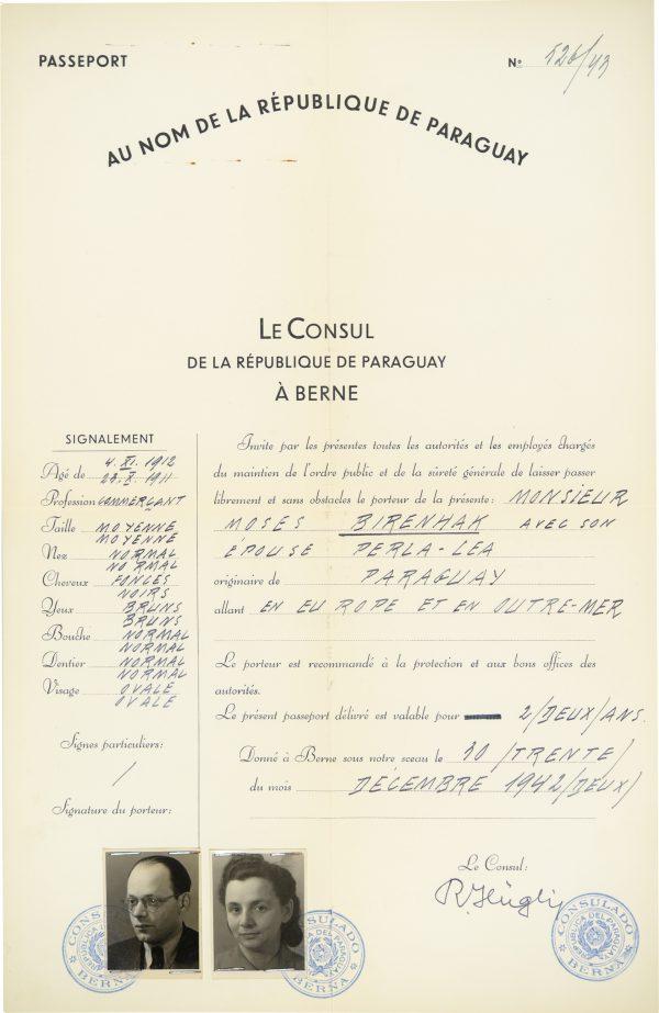 <p>Passport for Mr and Mrs Birenhak<br /> <small>Auschwitz-Birkenau State Museum, ZWEiss7 no. 194777</small></p>