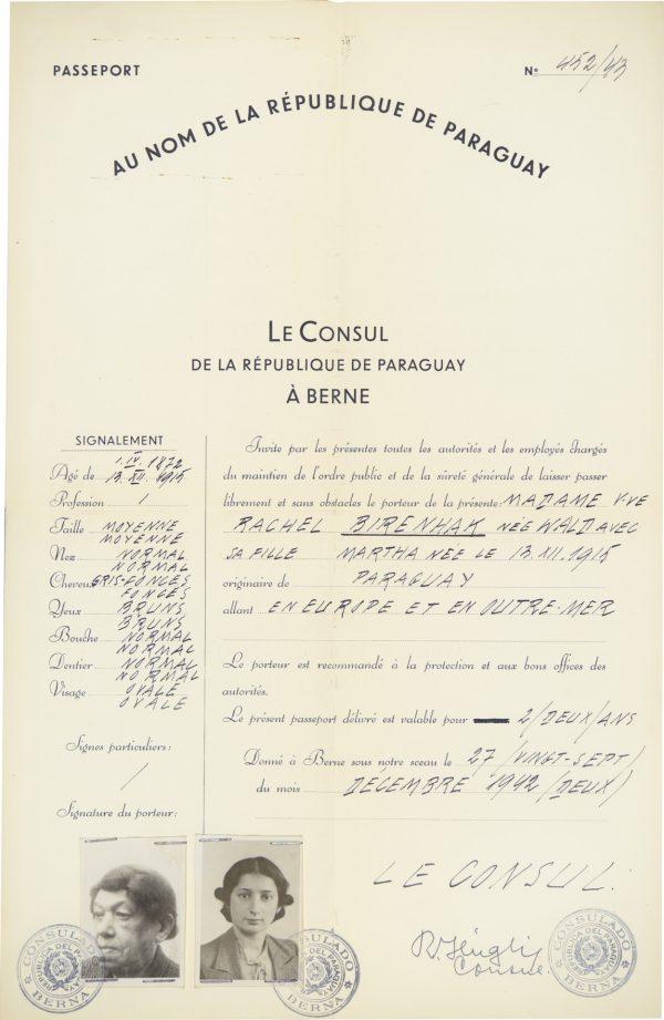<p>Passport for Rachel Birenhak and her daughter<br /> <small>Auschwitz-Birkenau State Museum, ZWEiss6 no. 194776</small></p>