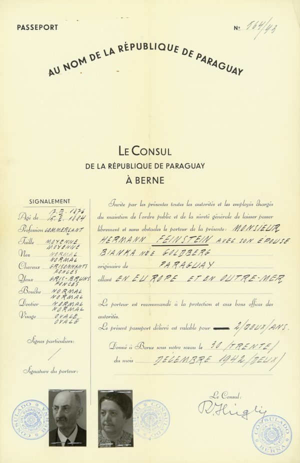 <p>Passport for the Feinstein family<br /> <small>Auschwitz-Birkenau State Museum, ZWEiss2 no. 194772</small></p>