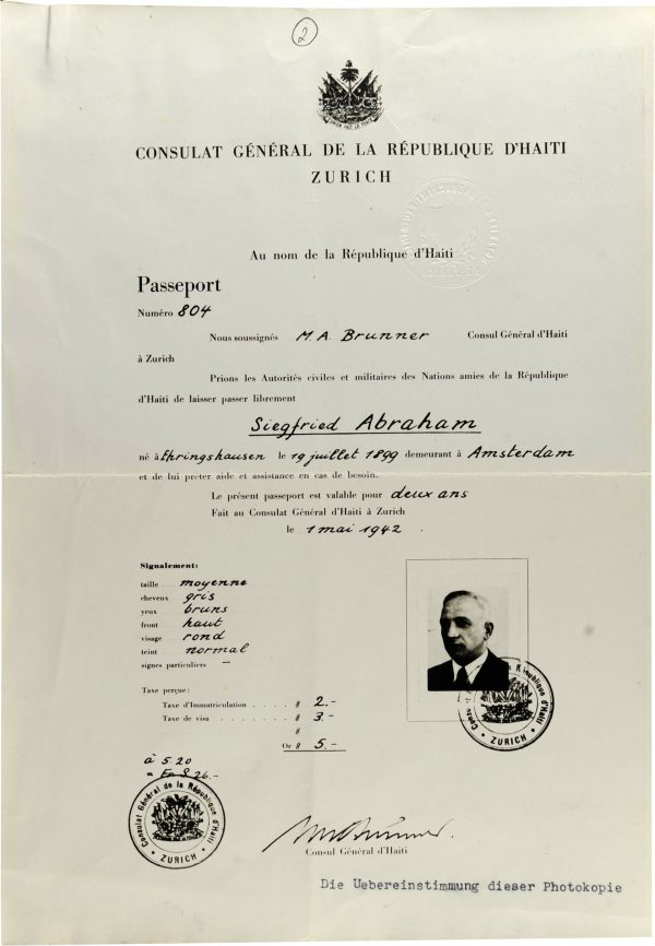 <p>Haitian passport issued to Siegfried Abraham<br /> <small>Yad Vashem Archive, dr Abraham Silberschein Archive, inventory number M.20/165</small></p>